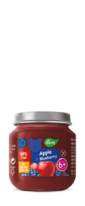 apple and blueberry baby food in jar