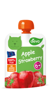 apple and strawberry baby food pouch