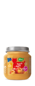 peach and apple baby food in jar