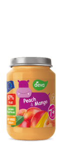 peach and mango baby food jar