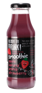 apple, banana, aronia, strawberry smoothie in glass bottle 300ml