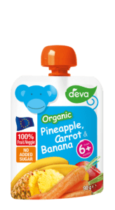 organic pineapple, carrot and banana baby food pouch